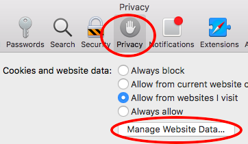 Privacy - Manage Website Data...